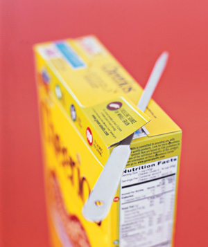 Letter opener used to open cereal box