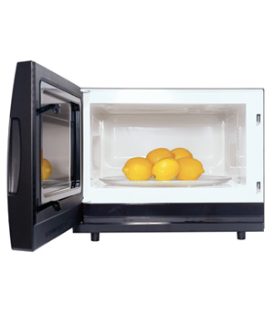 Microwave used to warm lemons