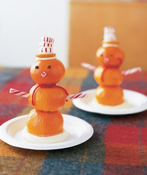 Oranges as Mini Snowman