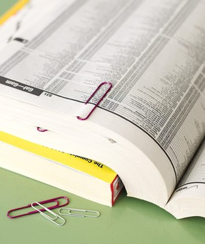 Paper clip used to mark phonebook