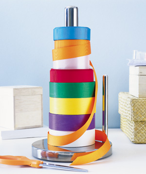 Paper Towel Holder as Ribbon Organizer