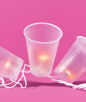 Plastic cups used as party lanterns