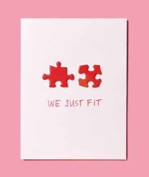 DIY Valentine's Day Cards,  We Just Fit  with a puzzle piece on card
