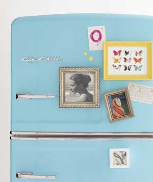 Refrigerator covered with picture frames