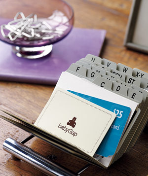Gift cards organized in a Rolodex