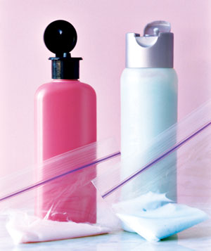 Zippered Plastic Bag as Beauty Product Storage