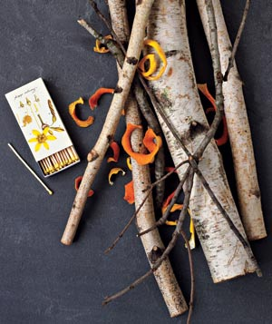 Citrus peels with firewood and matches