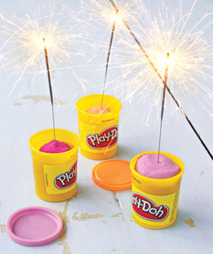 Play-Doh holding sparklers