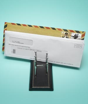 Tie rack as mail organizer