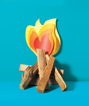 Paper illustration of logs on fire