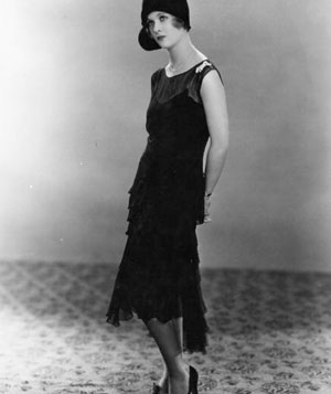 Joan Bennett in black dress