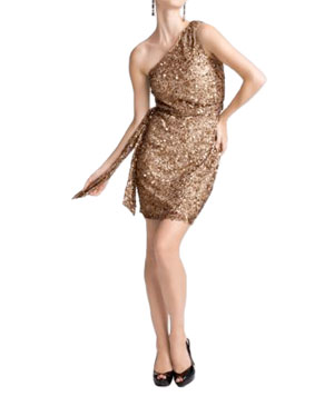 One-Shoulder Sequined Dress by Aidan Mattox