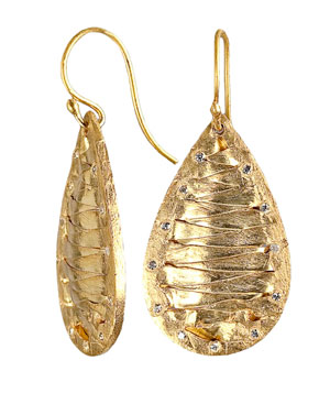 Gold Woven Teardrop Earrings by Kevia