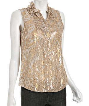 Gold Metallic Embroidered Chiffon Sleeveless Blouse by Elie Tahari