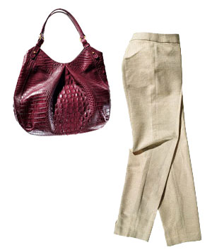 Burgundy Brahmin leather bag and gold Talbots pants