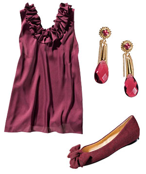 Ann Taylor burgundy top, Kendra Scott amethyst-and-jade earrings, and Pour la Victoire flats