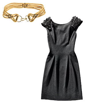 Gold Alice by Temperley belt and gray Trina Turk dress