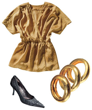 Gold Gap blouse, gray Charles David leather heels, and gold Alexis Bittar metal bangles