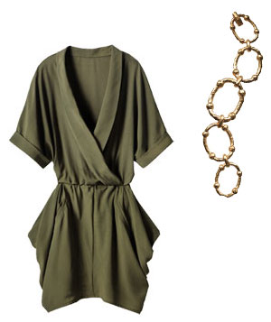 Olive green BCBGeneration dress and Lauren by Ralph Lauren gold–plated bracelet