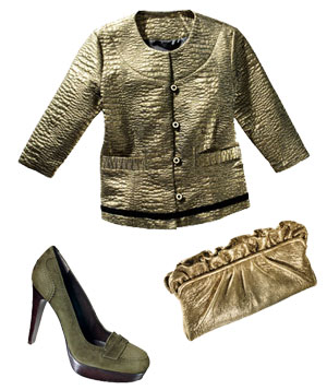 Olive green Hunter Dixon jacket, Stuart Weitzman heels, and Lauren Merkin gold leather clutch