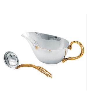 Gilded Twig Steel Gravy Boat & Ladle