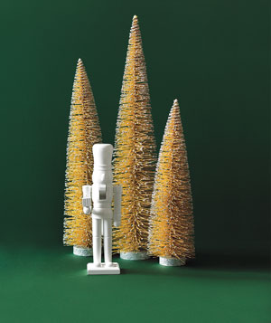 West Elm nutcracker and Jim Marvin Enterprises bottle brush trees