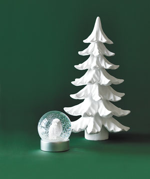 West Elm barn-owl globe and Z Gallerie Snowfall tree in porcelain