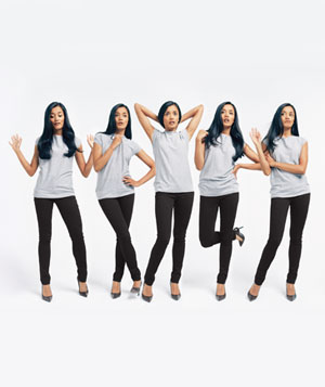Model showing various types of body language
