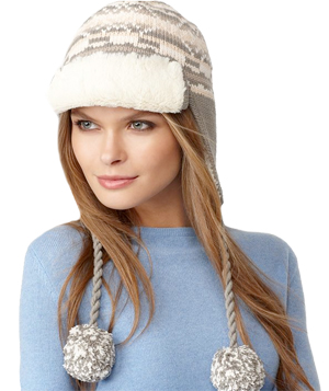 Rachel Rachel Roy Fair Isle Pom Pom Faux Fur Trapper Hat