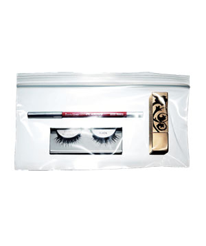 Make-up kit, lip liner, lipstick, false eye lashes
