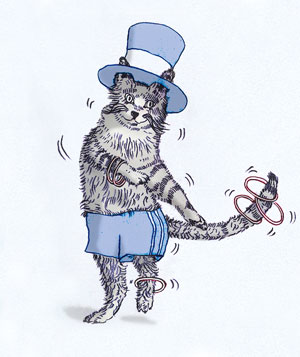 Cat dancing in a top hat illo