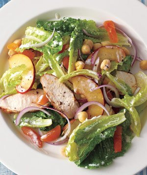 Spiced Chicken Salad With Plums and Chickpeas