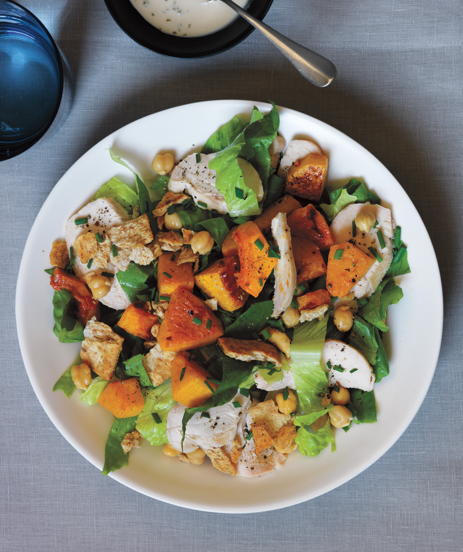 Chicken, Squash, and Chickpea Salad With Tahini Dressing