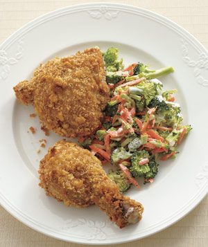 Oven-Fried Chicken With Crunchy Broccoli Slaw