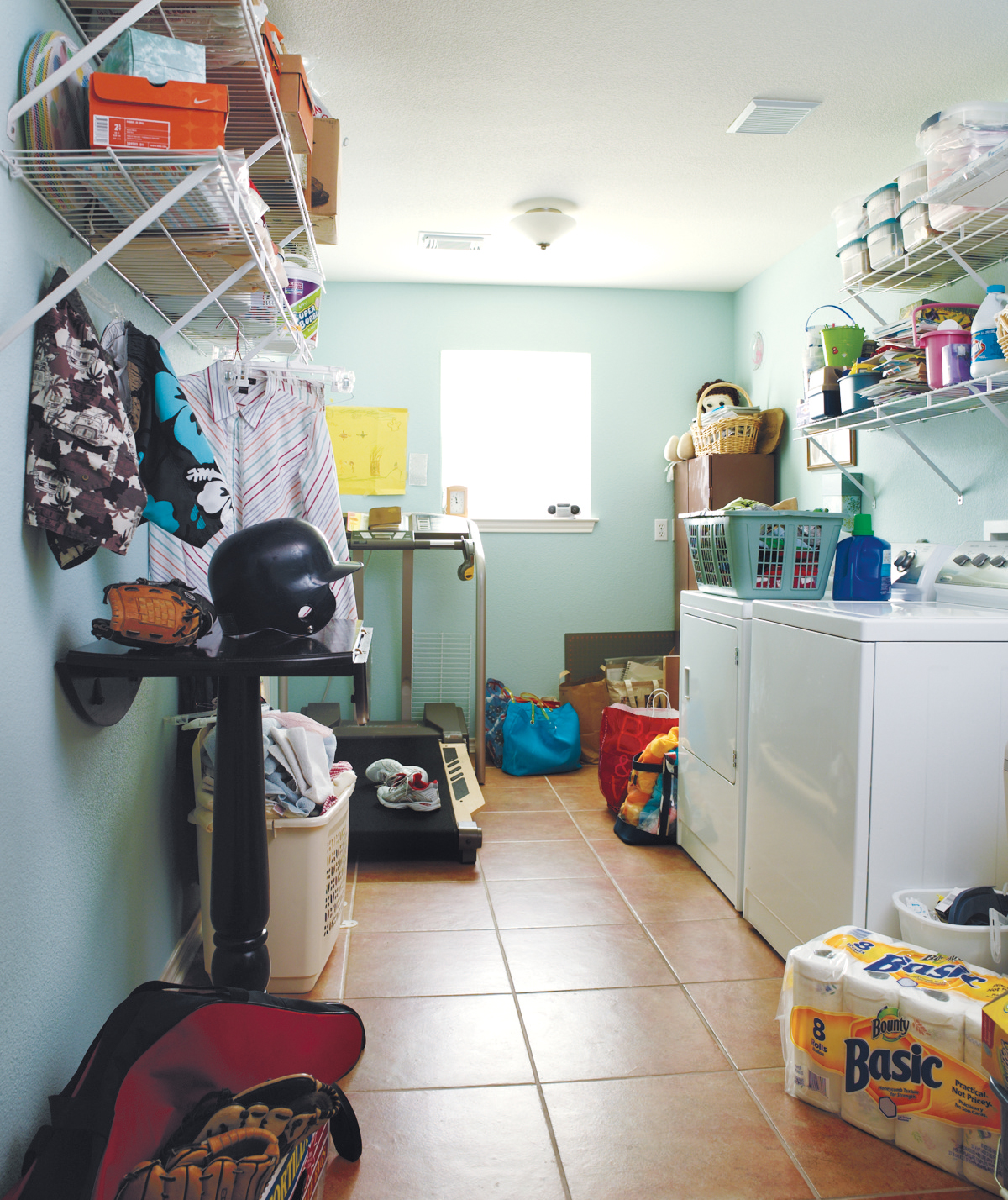 A messy laundry room