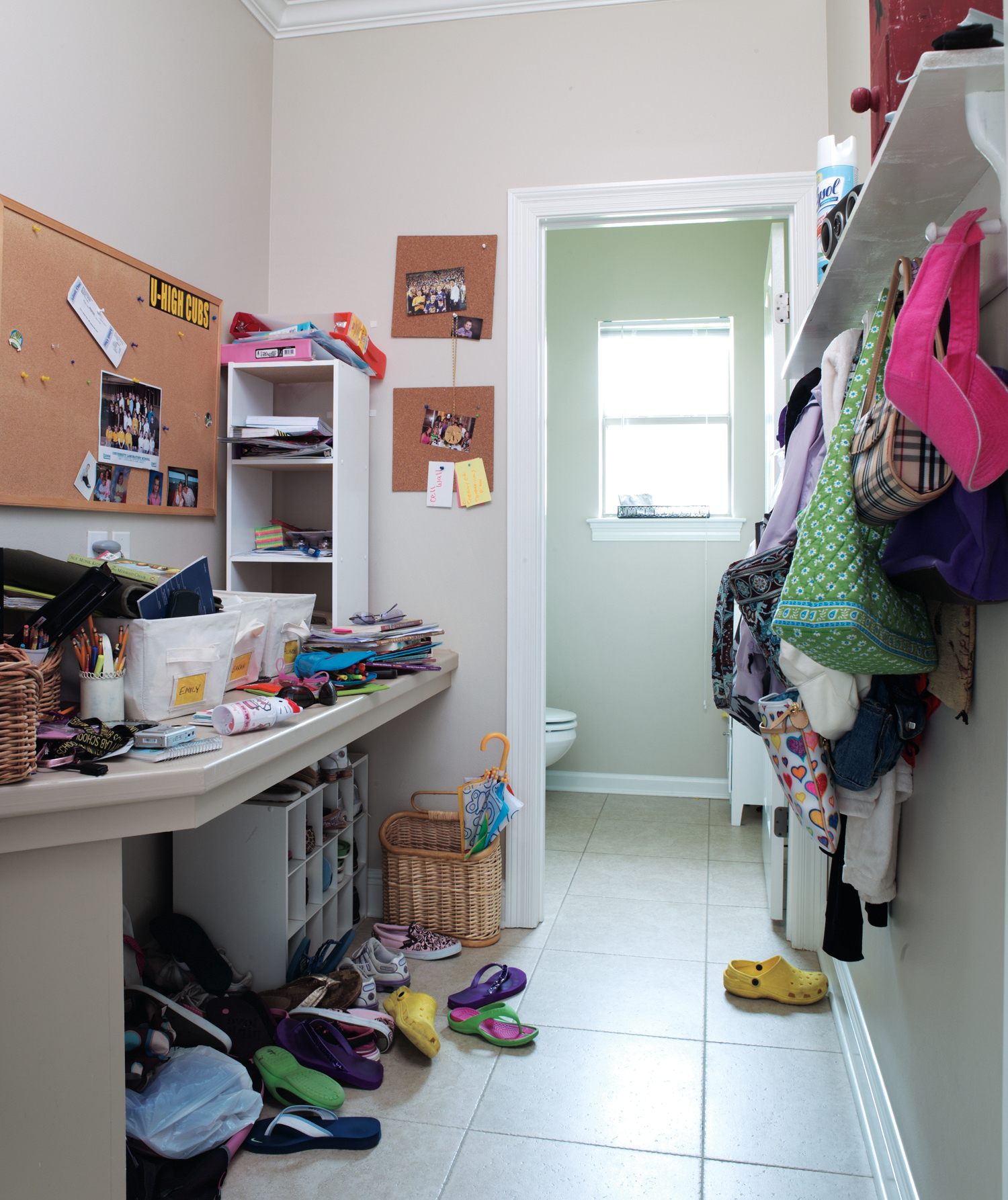 A cluttered mudroom