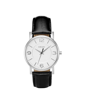 Black Croc Embossed Leather Strap Watch by DKNY
