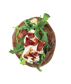 Baked Potatoes With Arugula, Sour Cream, and Bacon
