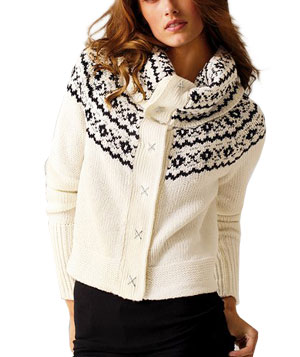 Fair Isle Cowlneck Cardigan Sweater by Victoria's Secret Catalogue