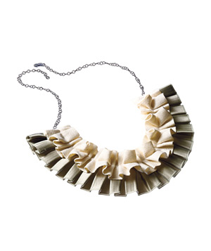 Cotton-and-satin ruffled necklace