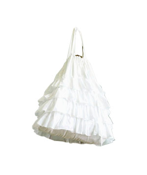 Ruffled Laundry Bag in White Devils