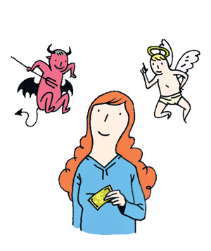 Woman holding money with a devil and angel on each shoulder illustration