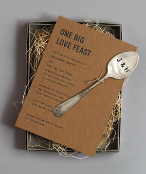 Food-centric wedding invite