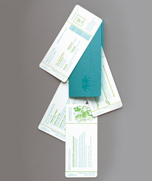 Faux boarding pass wedding invitation