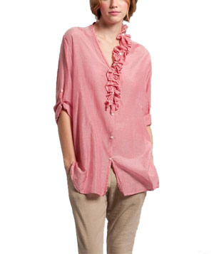 Tunic with Detachable Ruffle Collar by DKNY