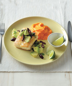 Pollock with Avocado Relish and Carrot Puree