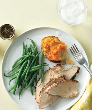 Roasted Turkey with Cheddar-Stuffed Potatoes