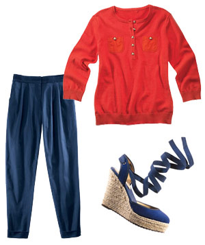 Composed image with espadilles, sweater and pants