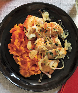 Chicken and Sweet Potatoes With Shallots