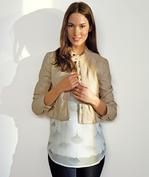Model wearing Lauren Conrad jacket
